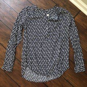 Loft Navy and White Patterned Top